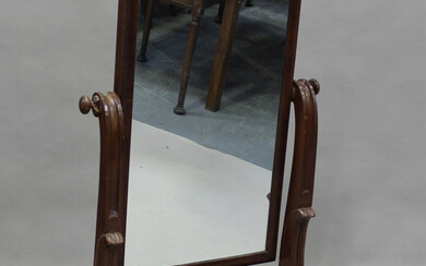 A Victorian mahogany cheval mirror, the scroll supports on cabriole feet, height 149cm, width 76cm