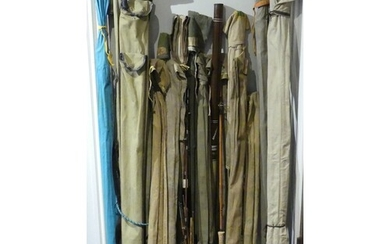 A collection of fishing rods, including cane examples, an Al...