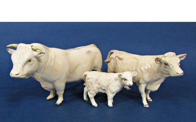 A family of three Beswick Charolais cattle comprising bull, ...