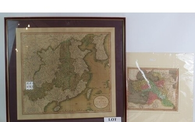 A framed map of China by John Cary, dated 1811 and a map of ...