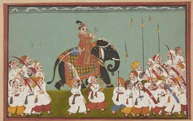 A large painting of a processional scene, Udaipur, Rajasthan, India, circa 1750, opaque pigments heighted with gold and silver on paper, the ruler wearing resplendent red robes with a gold sash and pearls and mounted on an elephant with a highly...