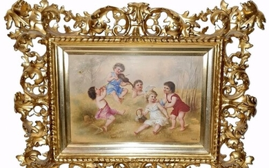 A late 19th to early 20th Century painted porcelain plaque o...