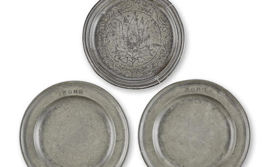 A pair of James II pewter single reed plates, circa 1690