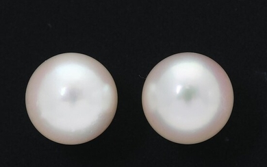 A pair of pearl ear studs each set with a cultured pearl, mounted in 18k white gold. Pearl diam. app. 8.4 mm. (2) – Bruun Rasmussen Auctioneers of Fine Art