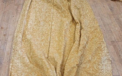 A pair of yellow Damask Chenille curtains, each 233 x 176 cm