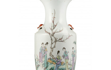 A porcelain vase painted female figures, lion's head handles China, late Qing dynasty (h. 42.5 cm.)Read more