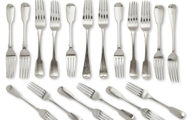 A set of seven Victorian silver table forks and five dessert forks, London, c.1834, James Beebe, of fiddle pattern design with monograms to reverse of terminals, together with three Victorian silver old pattern table forks, and three further fiddle...