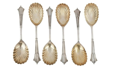 A set of six Victorian sterling silver fruit serving