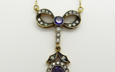 AMETHYST & DIAMOND NECKLACE, BOXED.