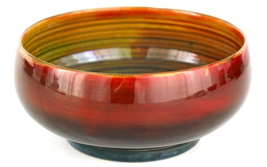 AN UNUSUAL MOORCROFT SMALL FOOTED BOWL with flambe