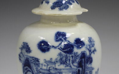 An English blue and white soft paste porcelain tea caddy and cover, mid-18th century, of ovoid form