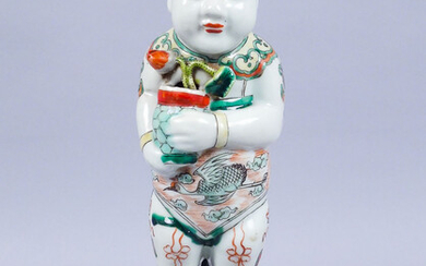 Antique Chinese Ho Ho Boy Porcelain Figurine Fitted as a Lamp AFR3SH