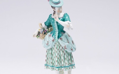 A rare Figure 'Lady with Flower Basket'