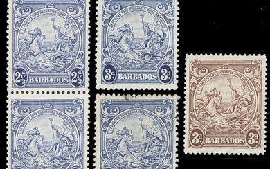 Barbados 1938-47 Issue 2½d. blue perf. 13x13½ vertical pair, variety mark on central ornament,...