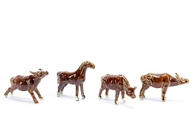 CHINESE 4PC BROWN GLAZED COW & HORSE FIGURES