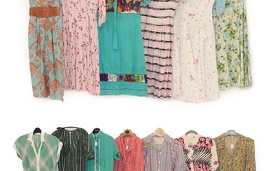 Circa 1950 and Later Ladies' Printed Cotton Day Dresses, comprising...