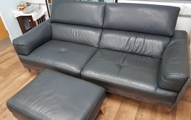 Contemporary Large 2-Seat Leather Settee and Footstool with ...