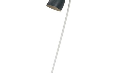 Designer unknown: A white lacquered metal floor lamp with blue lacquered adjustable metal shade. H. 123 cm. – Bruun Rasmussen Auctioneers of Fine Art
