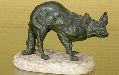 Dog on the lookout Green patina bronze on a marble...