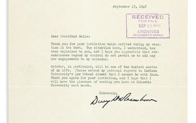 EISENHOWER, DWIGHT D. Typed Letter Signed, to IN