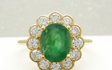 EMERALD & DIAMOND FLORAL CLUSTER RING.