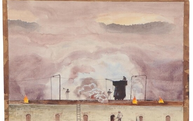 Edmond James Fitzgerald Watercolor Painting, Mid-20th Century