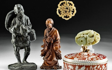 Five Fine 20th C. Chinese Figures, Ornaments & Bowl