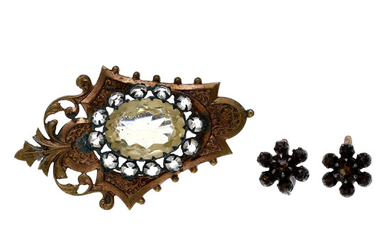 Floral earrings and brooch, late 19th Century.