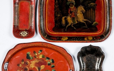 Four toleware trays, late 19th c.
