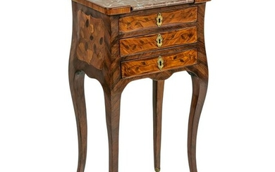 French Marquetry Wood Inlay Antique Chevet Table