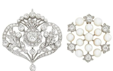Gold, Platinum, Pearl and Diamond Pendant-Brooch and
