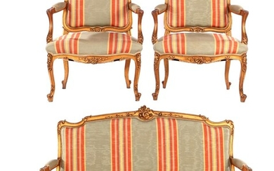 (-), Gold-coloured wooden 3-1-1 sofa with Rocaille crest...