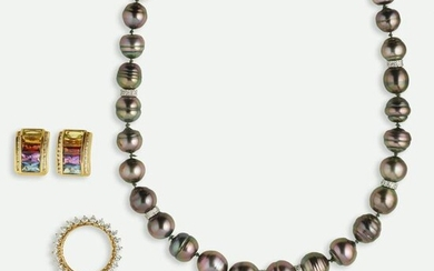 Group of cultured pearl, diamond, and gem-set jewelry