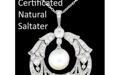 IMPORTANT GEM QUALITY NATURAL PEARL AND DIAMOND PENDANT, wre...