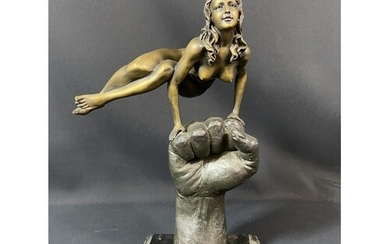 Large cast bronze figure of a nude lady on hand, mounted on ...