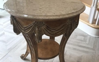 Marble Top Neoclassical Style End Table