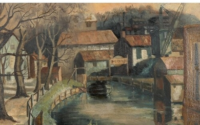 Mid-20th century oil on canvas, industrial scene, unsigned, ...