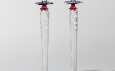 Murano Style Hand Blown Glass Tall Signed Candle Sticks