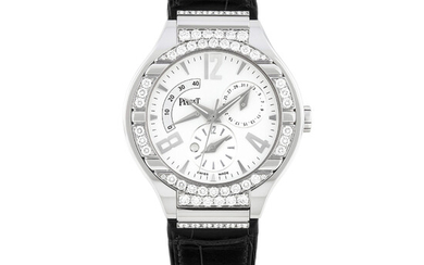 PIAGET, WHITE GOLD AND DIAMOND-SET, POWER RESERVE, DUAL TIME AND DATE