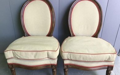 Pair French Louis XVI Upholstered Side Chairs