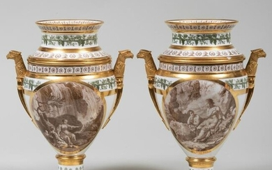 Pair of Stone, Coquerell et Le Gros Porcelain Sepia and