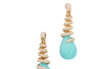 Pair of Turquoise and Diamond Earclips, de Grisogono