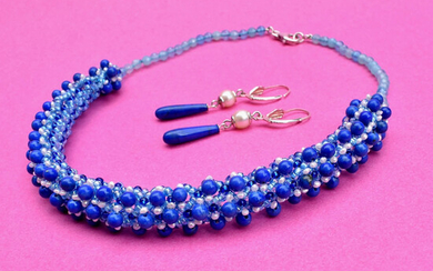 Parure - Earrings and Necklace of Lapis Lazuli and Pearls. 925 silver finishes – hand woven necklace – Italy