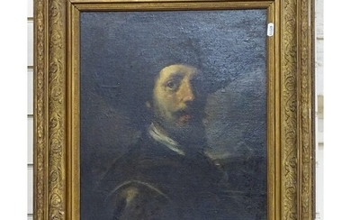 R Baures?, a 19th century oil on board, head and shoulder po...