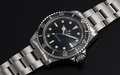 ROLEX. A STEEL SUBMARINER WITH MAXI DIAL, REF. 5513