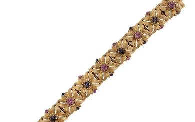 RUBY, SAPPHIRE AND GOLD BRACELET