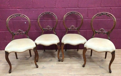 Set of four Victorian walnut dining chairs