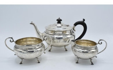 Silver 3-piece tea set to consist of the teapot, milk and su...