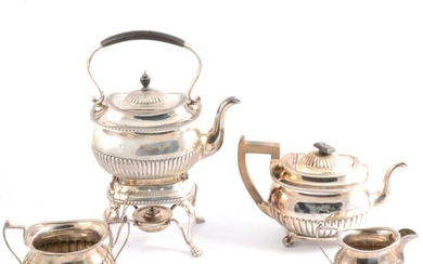 Silver three piece teaset plus kettle and stand by Martin, Hall & Co