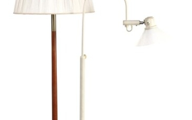 (-), Standing 3-light floor table lamp with wood...